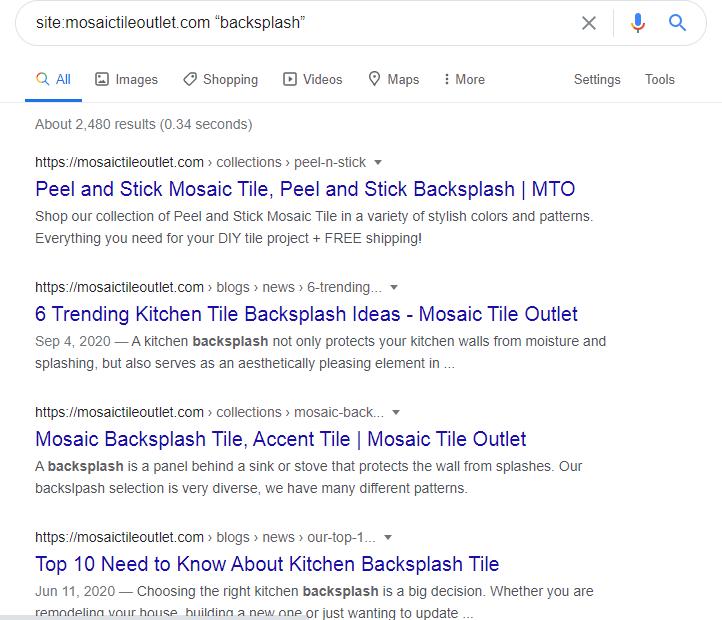 target keyword search in Google