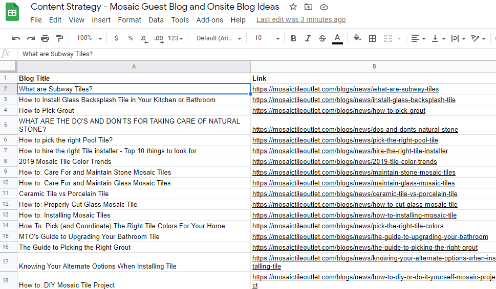 Spreadsheet with Blog titles sample: MTO