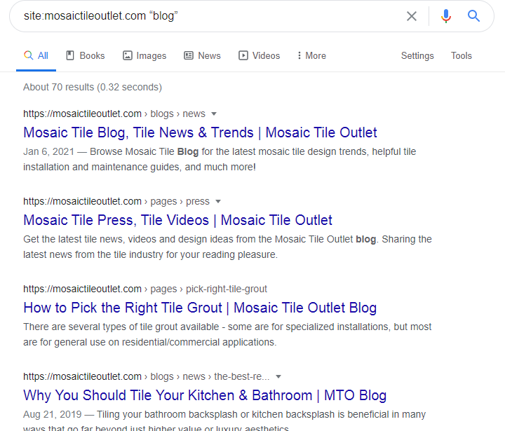 target keyword search in Google: blog